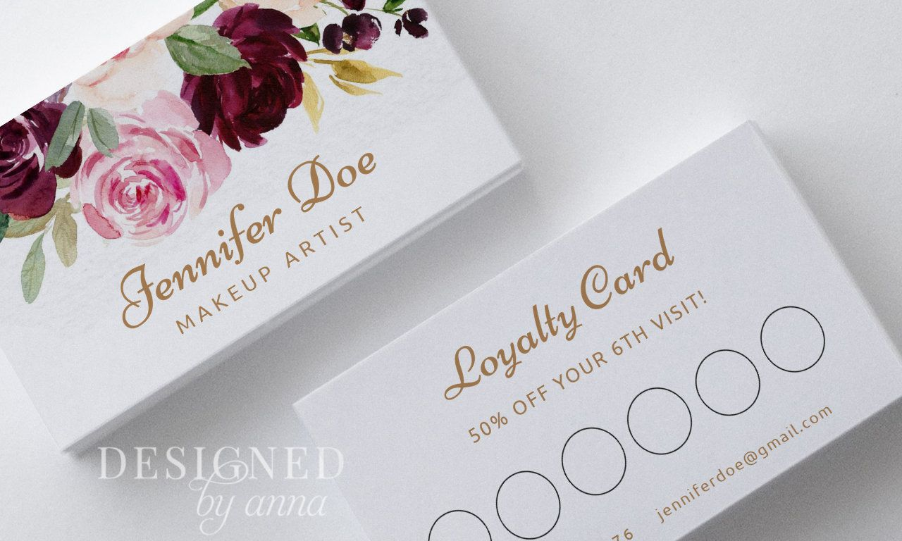 Floral Loyalty Card Design Printable Loaylty Card Template Etsy Loyalty Card Design Card Design Business Card Templates Download