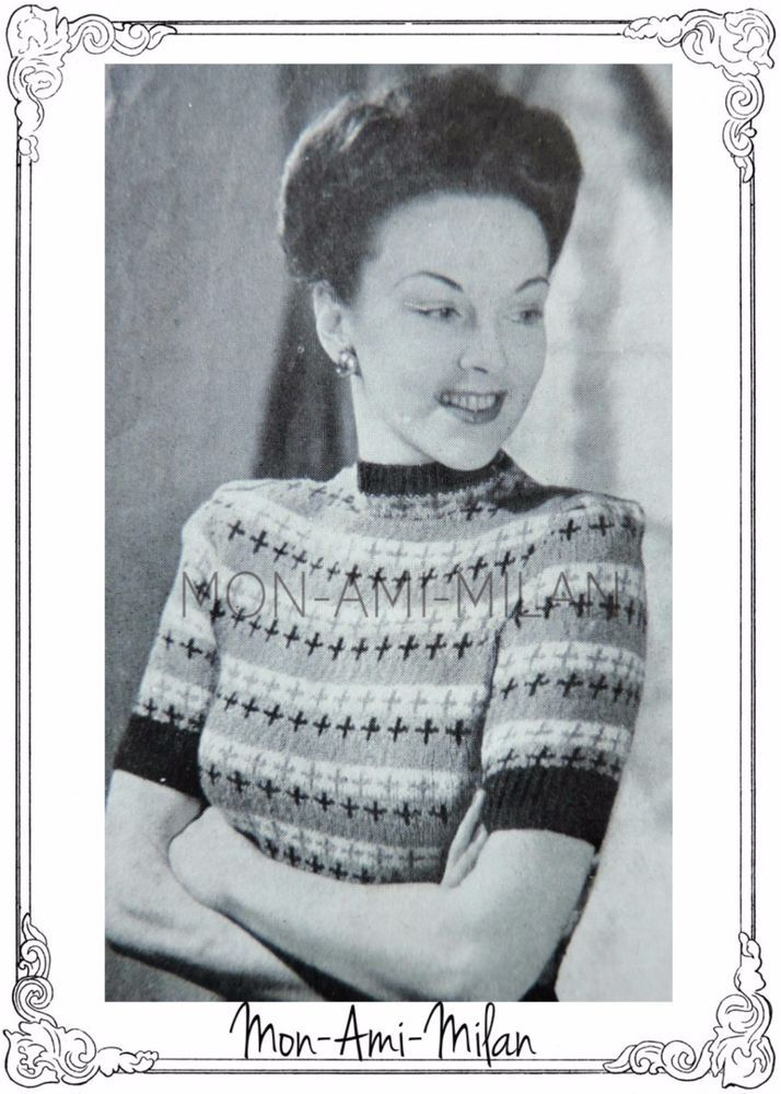 LADIES FAIRISLE SWEATER Vintage 1940s Knitting Pattern Copy WW2 ...