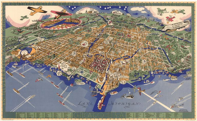 Map exploring the world the curious map book and more pinterest city of the big shoulders a 1931 rendering of chicago by charles turzak and henry t chapman from map credit david rumsey map collection gumiabroncs Image collections