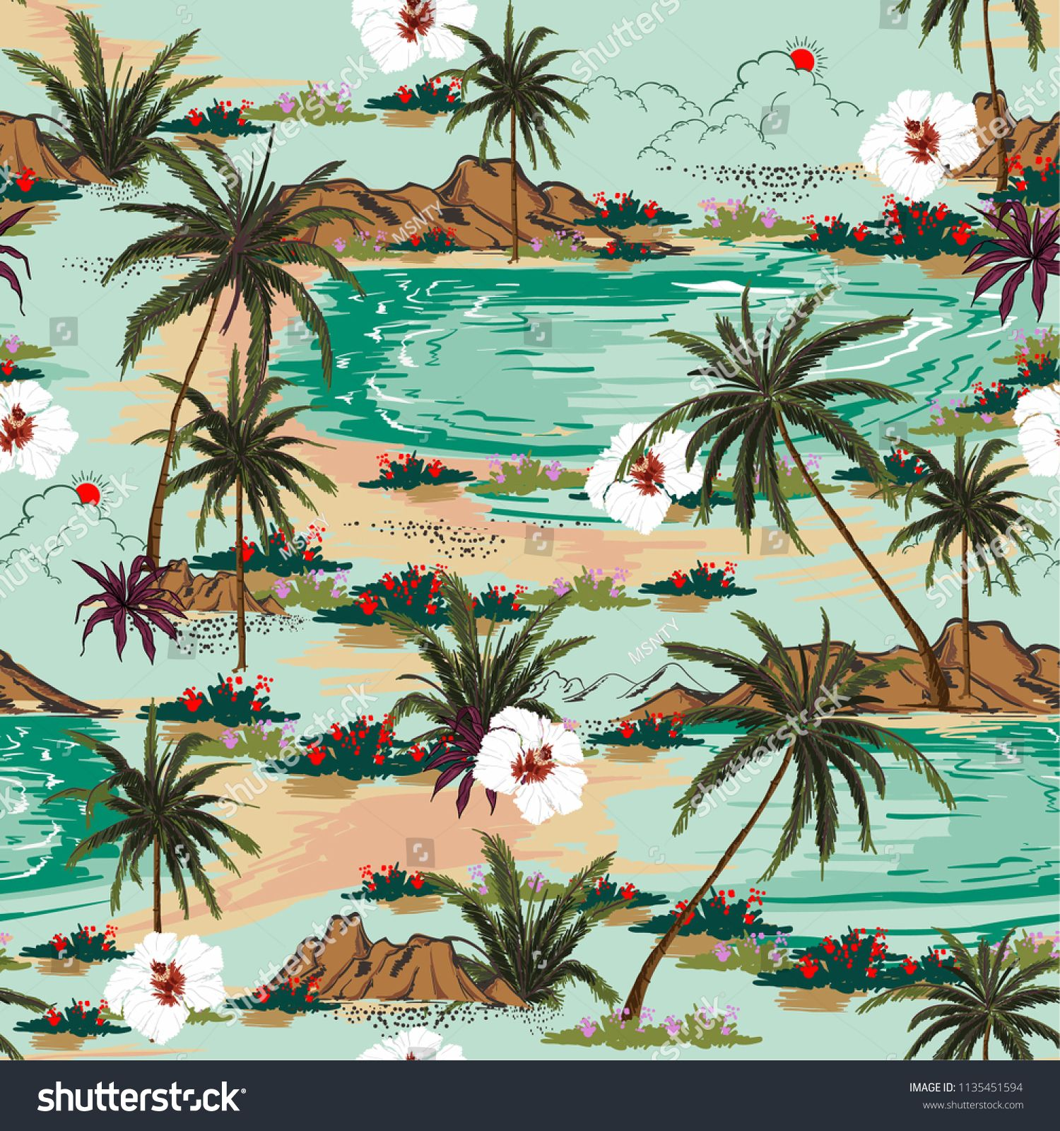 Bright Summer Hawaii Seamless Island Pattern Vector Landscape With Palm Trees Beach And Ocean Vector Hand Dra In 2020 Vintage Landscape Palm Tree Drawing Tree Drawing