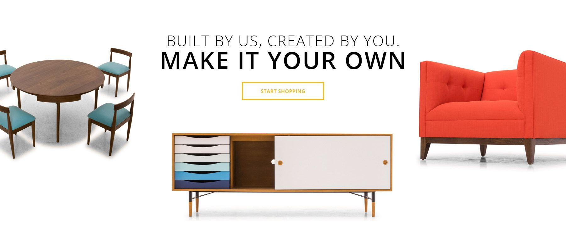 Handcrafted custom mid century modern furniture. Available in over 100 fabric and leather options customized by you, built from responsibly sourced materials, and shipped free!