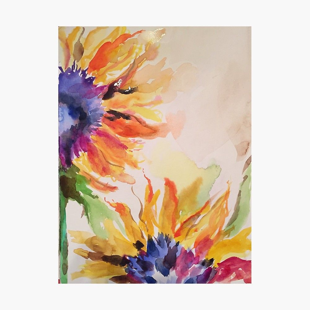 Dreamy Sunflowers Photographic Print Sunflower Art Watercolor