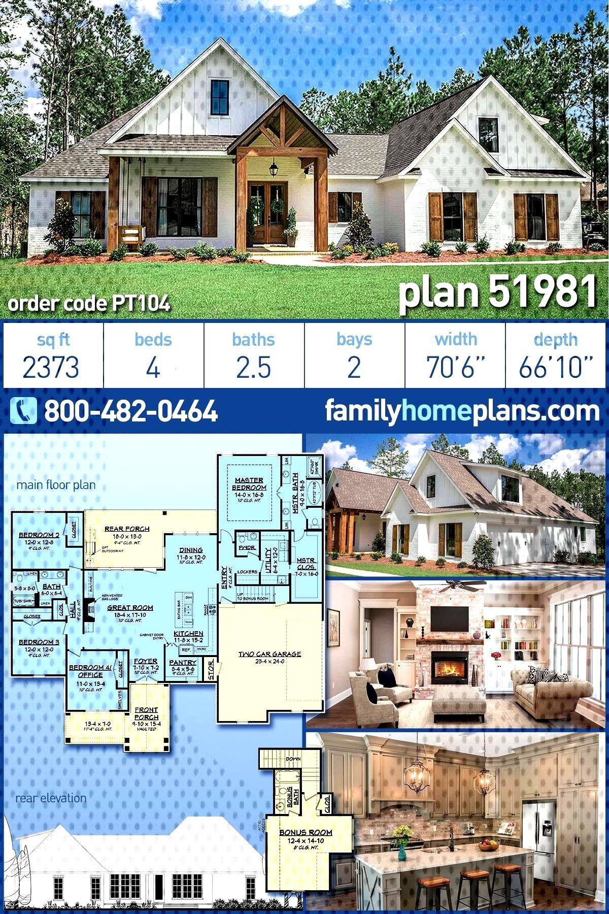 Farmhouse , Craftsman , Country House Plan 51981 with 4 Beds, 3 Baths, 2 Car Garage