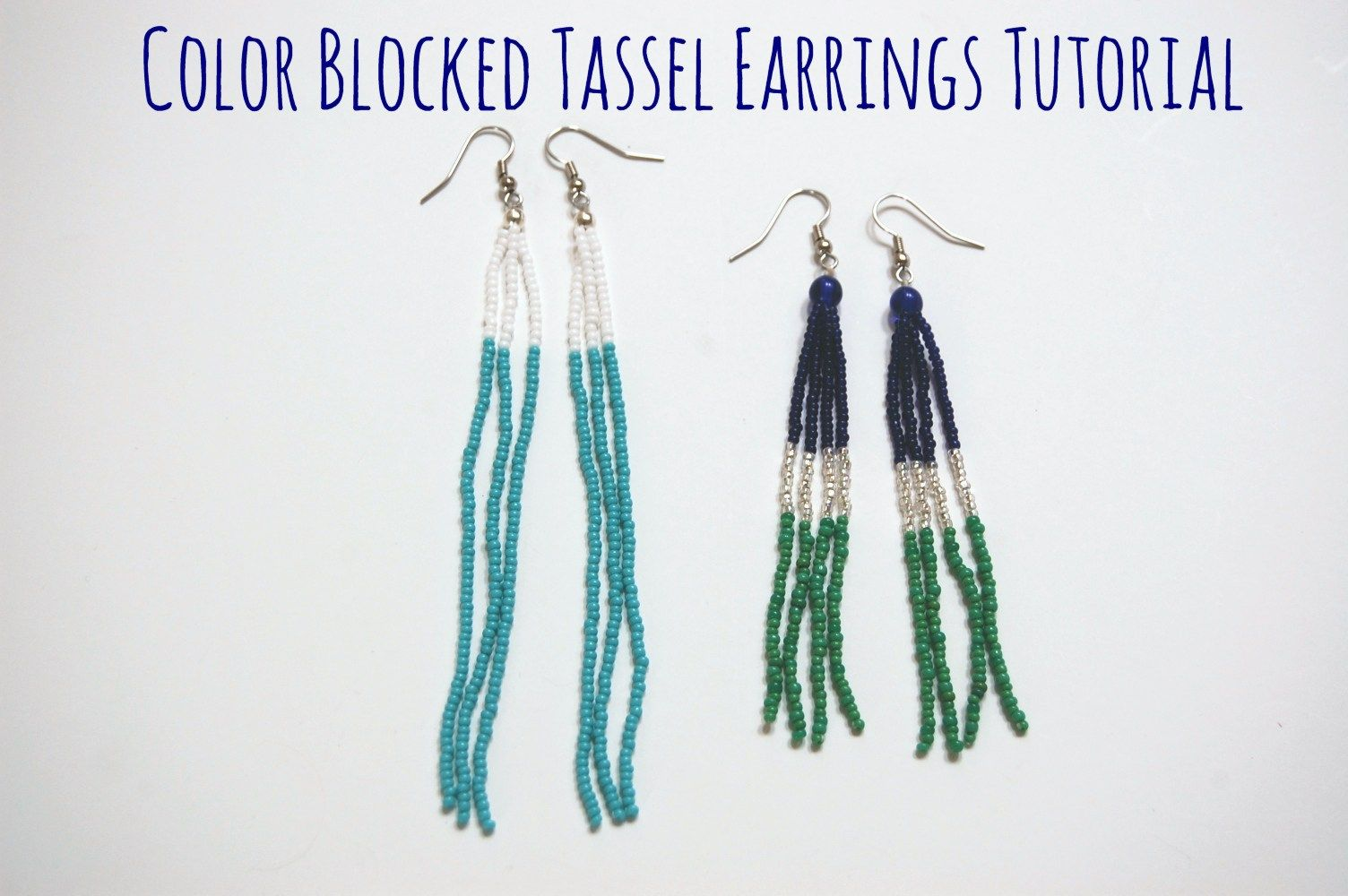 DIY Color Bloack Beaded Tassel Earrings Tutorial