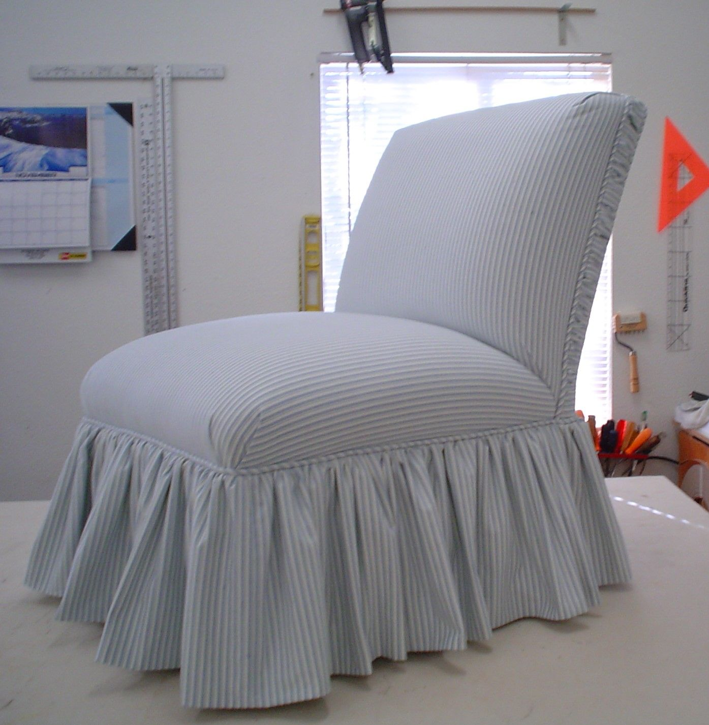 Upholstered Slipper Chair, With Some Ticking Fabric And A