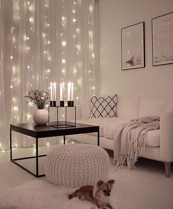 White Living Room Decor Ideas, I Love The String Lights In The Curtains!