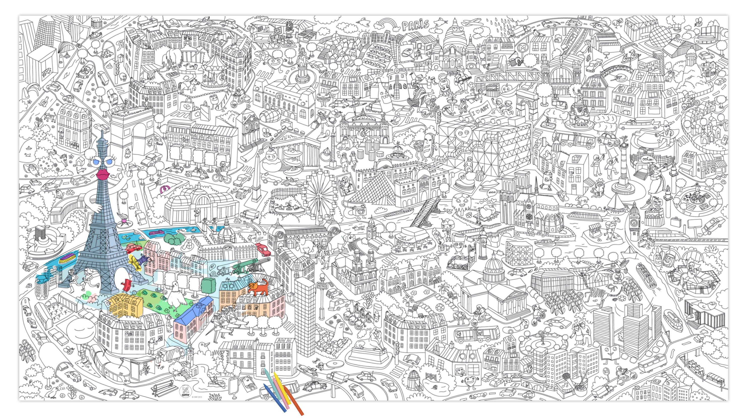 Poster colorier xxl paris 180 x 100 cm paris jeux - Poster xxl paris ...