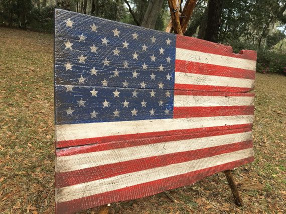Extra large american flag on 150 year old barn wood 33x56 Perfect