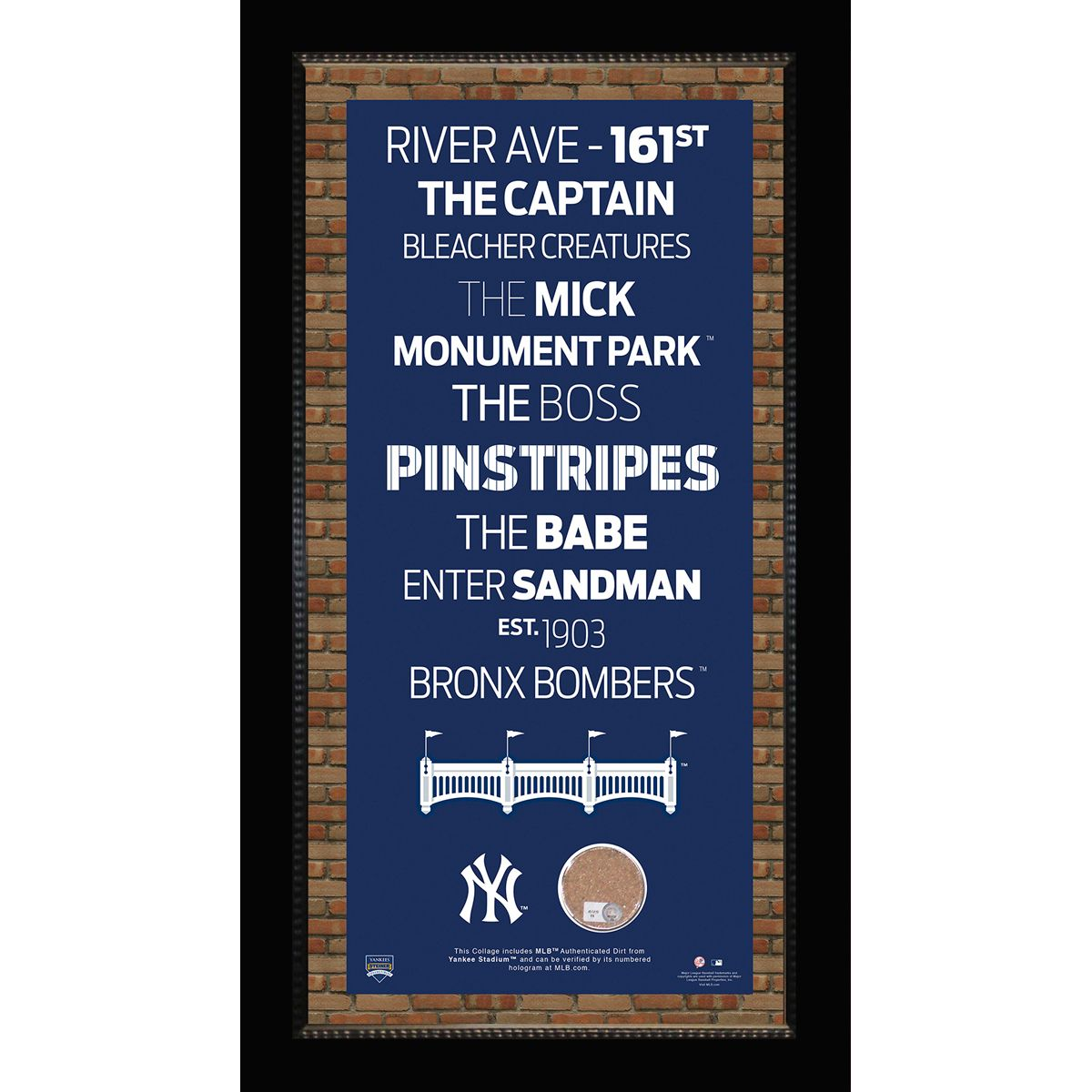 Framed Mini New York Yankees Subway Sign 9.5x19 Wall Art With ...