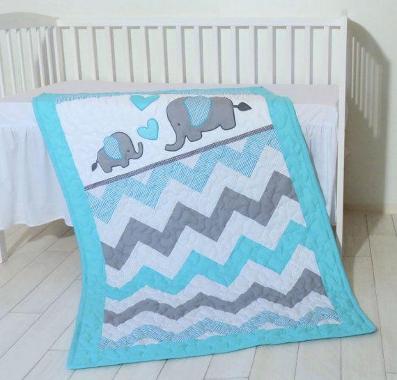 Chevron Baby Quilt, Elephant Patchwork Crib Blanket, Organic Child ...