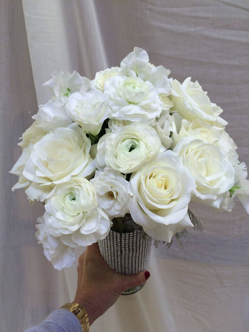 Tibet Roses White Ranunculus White Sweet Pea And White Tulips