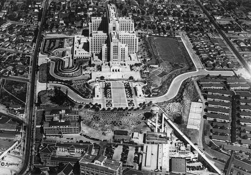 Aerial View Of East Los Angeles And Boyle Heights Neighborhoods Revealing The Art Deco Los Angeles County General Ho East Los Angeles Los Angeles Boyle Heights