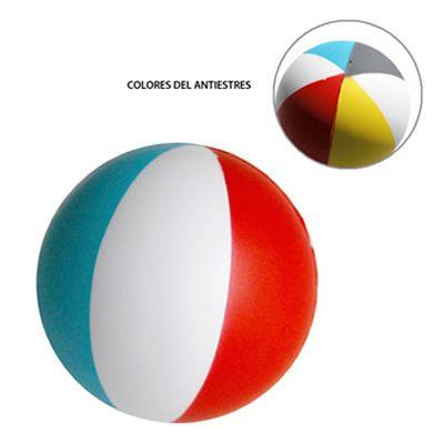 BOLA ANTIESTRÉS BEACH REF:DIV-460   Poliuretano.  Tipo de Producto: IMPORTADO.  Medidas: 7 cm diámetro.  Área de Marca: Máximo 4.5 cm de ancho.  Técnica de Marca: Tampografía.  Colores Disponibles: Combinado