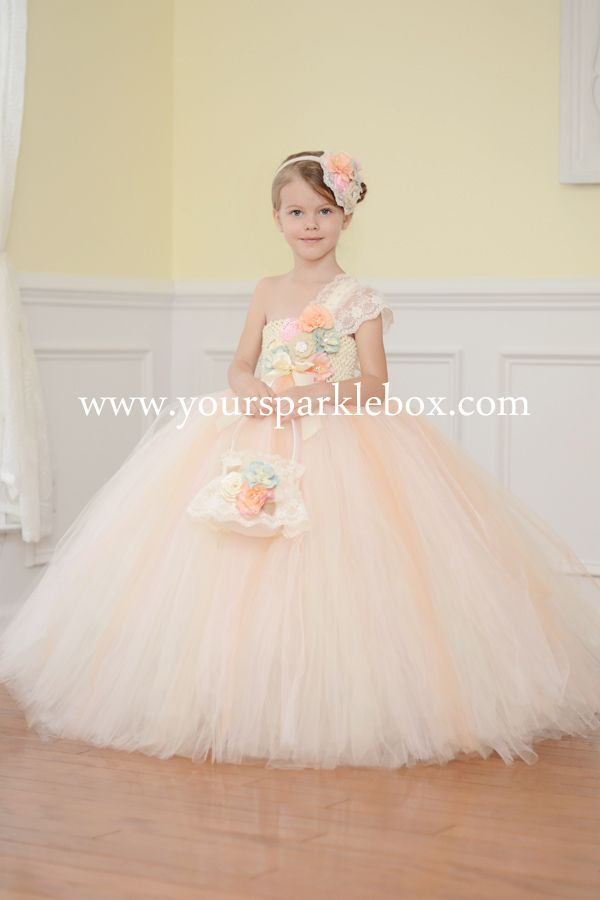 Vintage Blue, Peach and Pink Tutu Dress by YourSparkleBox