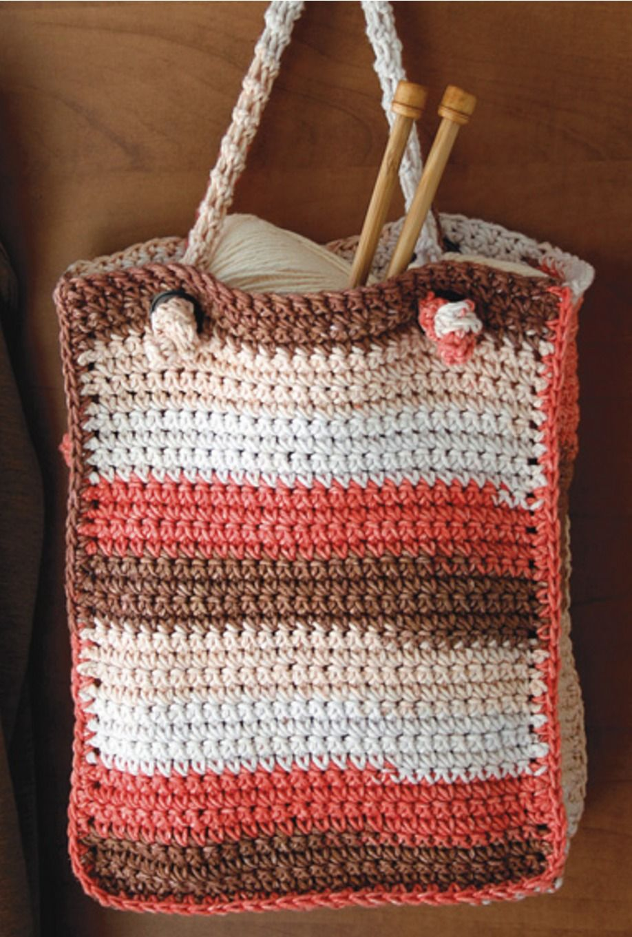Free Crochet Pattern   Crocheted Tote with Knotted Handle   Crochet ...