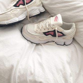 shoes aesthetic tumblr sneakers white rose cyber pale grunge haute couture raf  simons mens sneakers adidas
