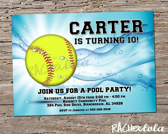 softball pool party birthday invitation printable template swim swimming invite end of season softball team party digital download new