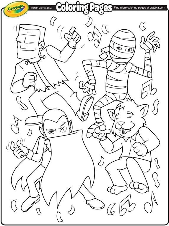 Halloween Monster Dance Coloring Printable on crayola.com ...