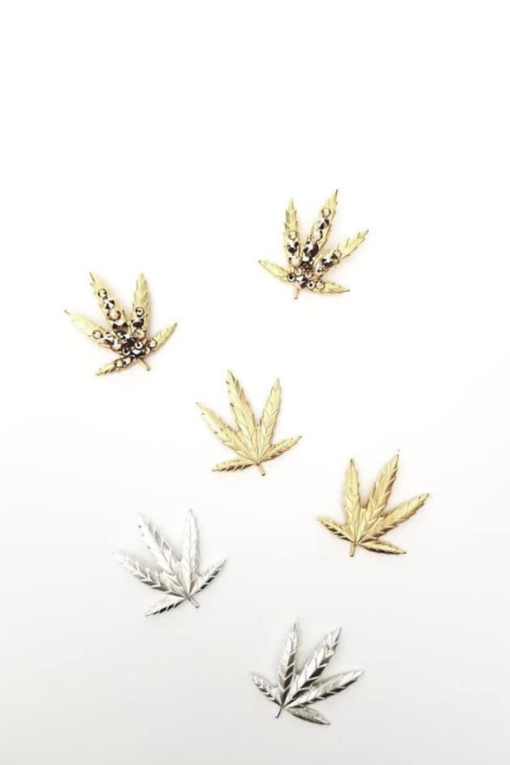 Gold And Silver Doja Earrings Hemp Leaf Gold Hands Handcrafted Luxury