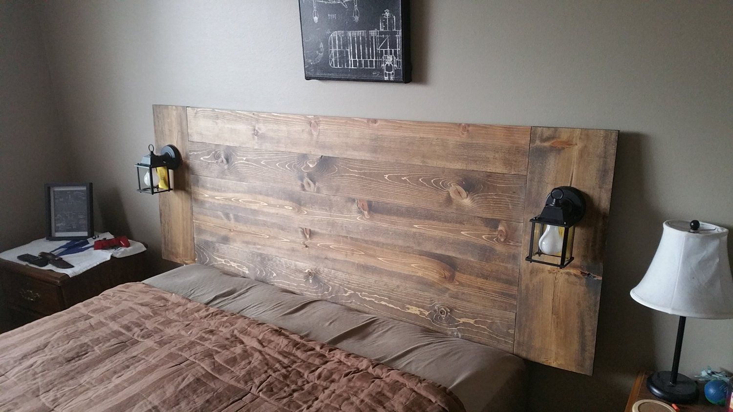 Floating Hanging Headboard With Lamps In 2020 Wall Mounted