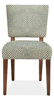 Georgia Chair in fun printed fabric to complement built-in seat cushion