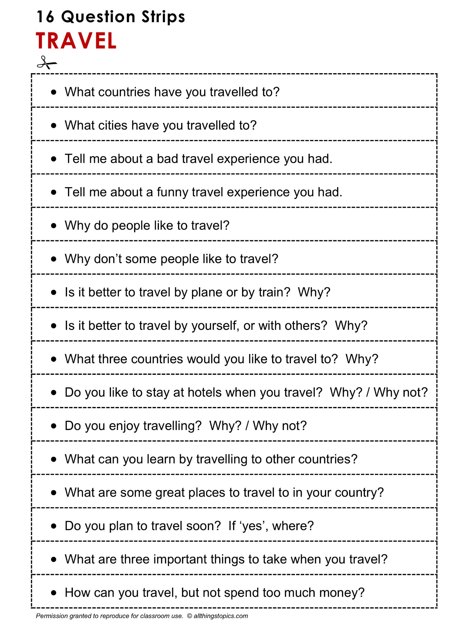 English Grammar Discussion Speaking Practice Travel 16 Question Strips 1 2 Http Www Speaking Activities English English Grammar English Language Teaching [ 2048 x 1536 Pixel ]
