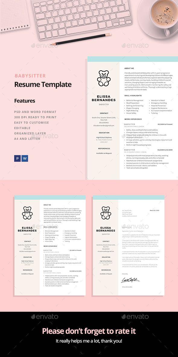 Babysitter Resume Template | Bewerbung design, Bewerbung und Designs