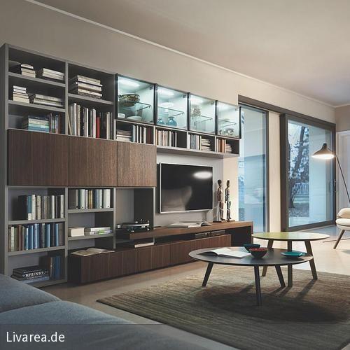 Geschlossene Bücherregale holz tv möbel aus eiche braun tv walls tv stands and spaces