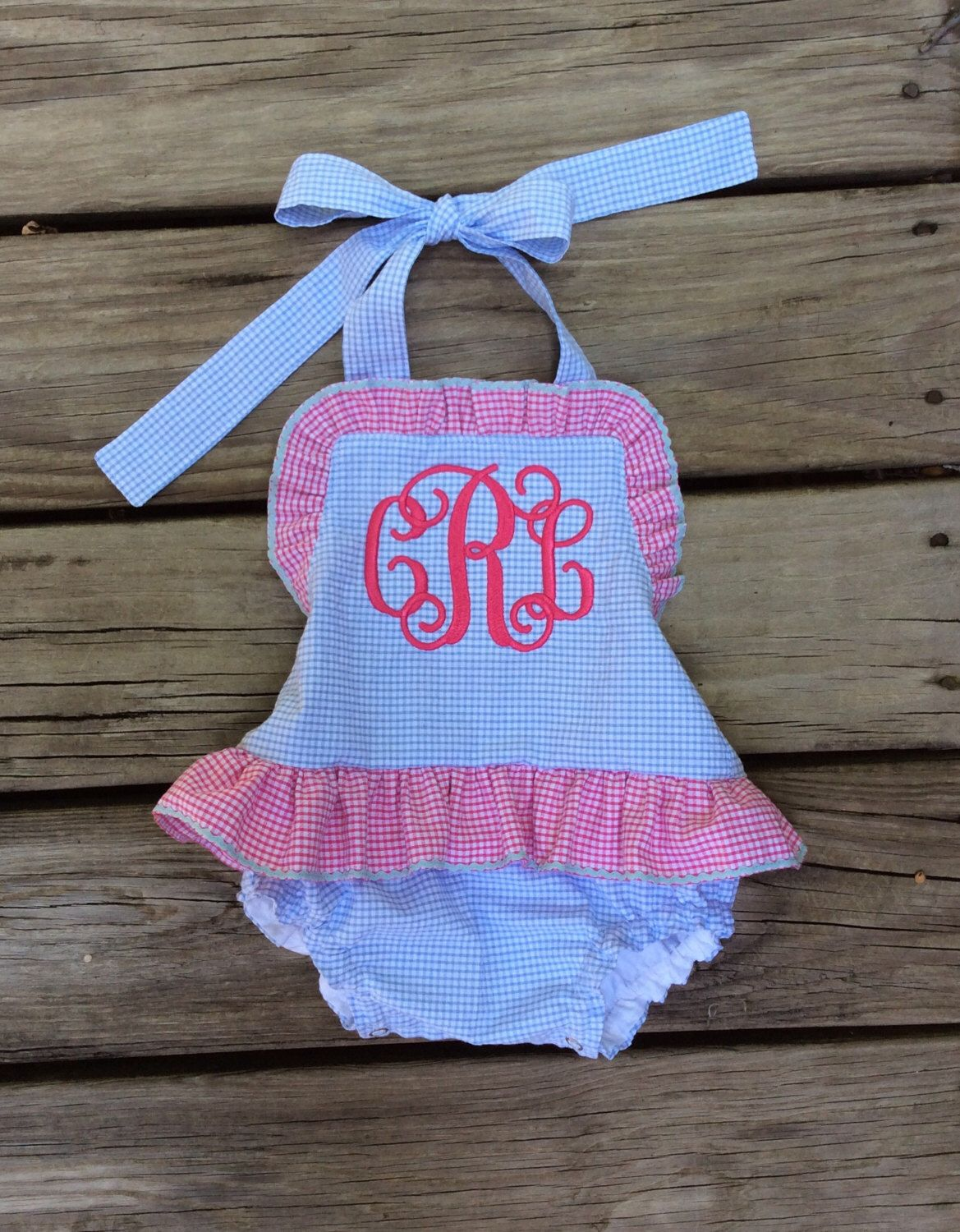 a30249d0ef8 Baby girl monogram One piece ruffle monogram swimsuit Boutique handmade  SNAPS IN CROTCH by waidcreations on