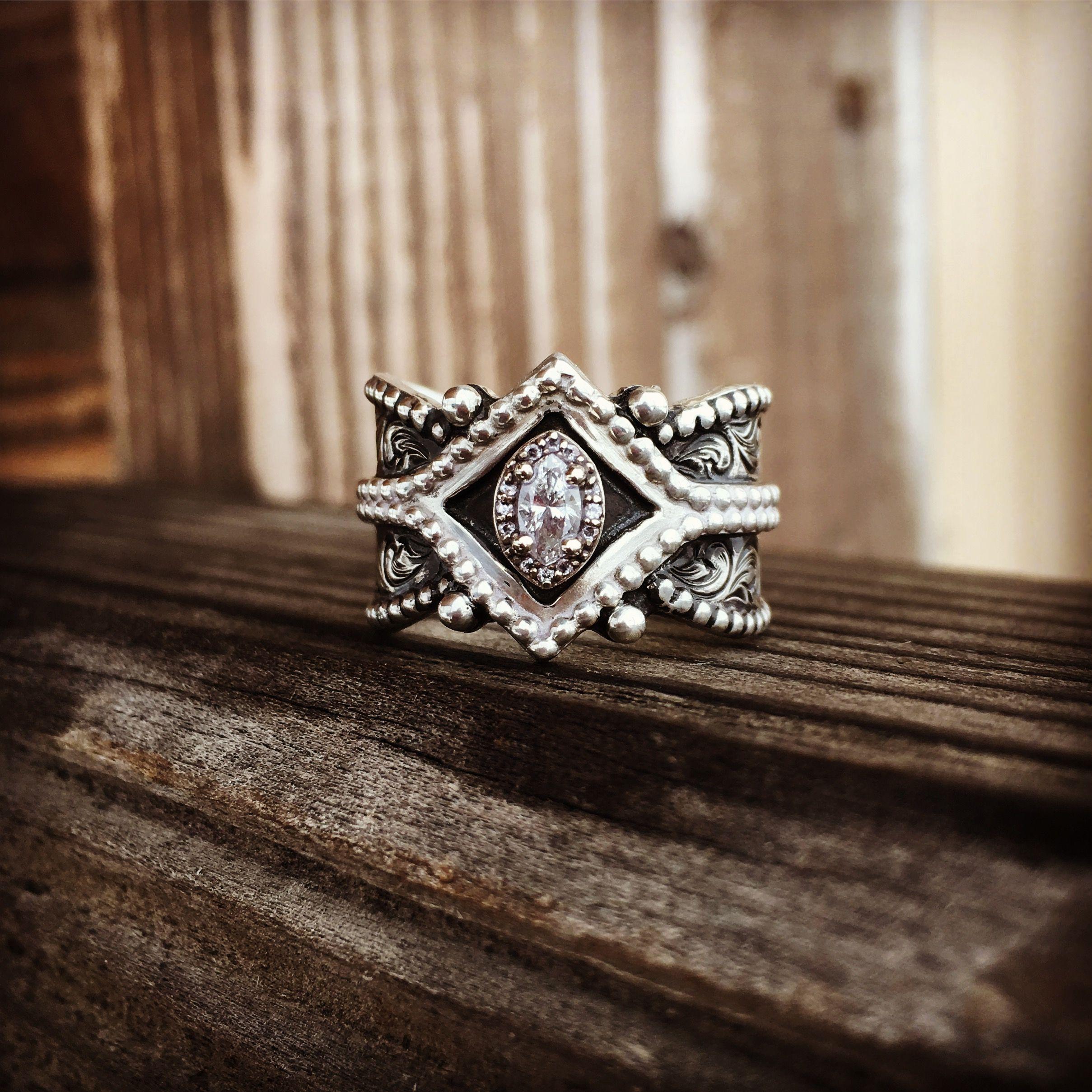 Western ring Silver dust Annie wangsgard Engraved