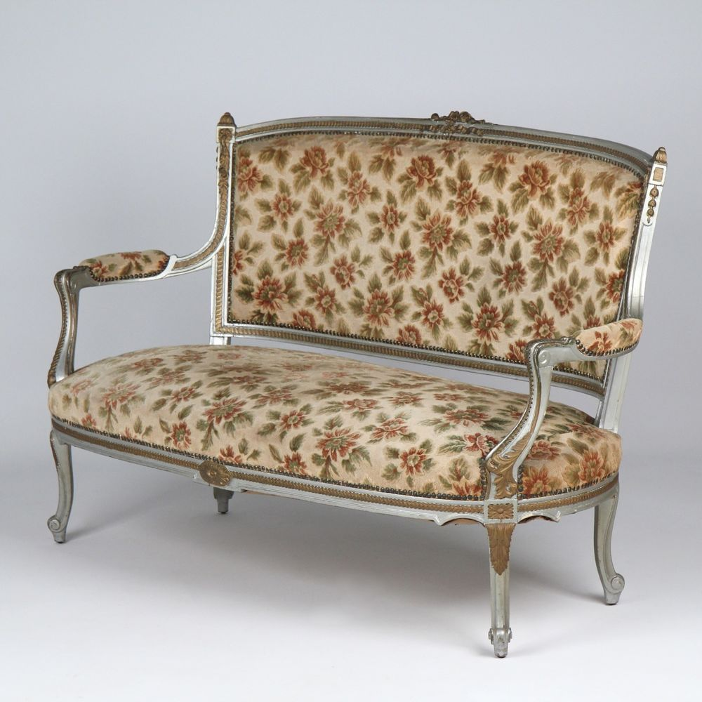 French Louis Xv Style Antique Settee Sofa Canape Carved Gilded Painted