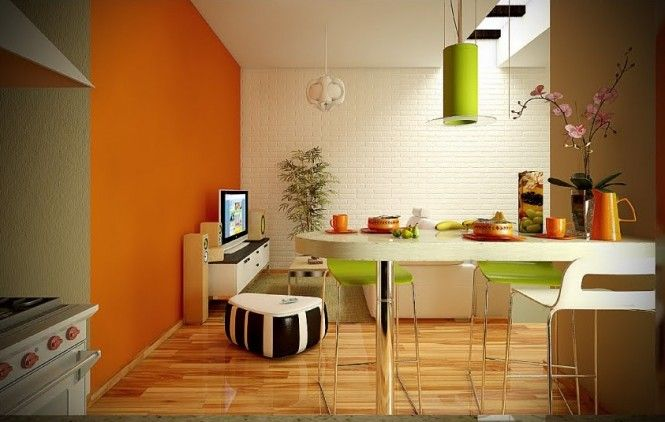 kitchen colour schemes - orange , lime/kiwi cream and wood | home