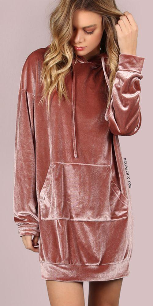32ed4193134 Velvet Hoodie Dress MAUVE | MakeMeChic.COM | Make Me Autumn Chic ...