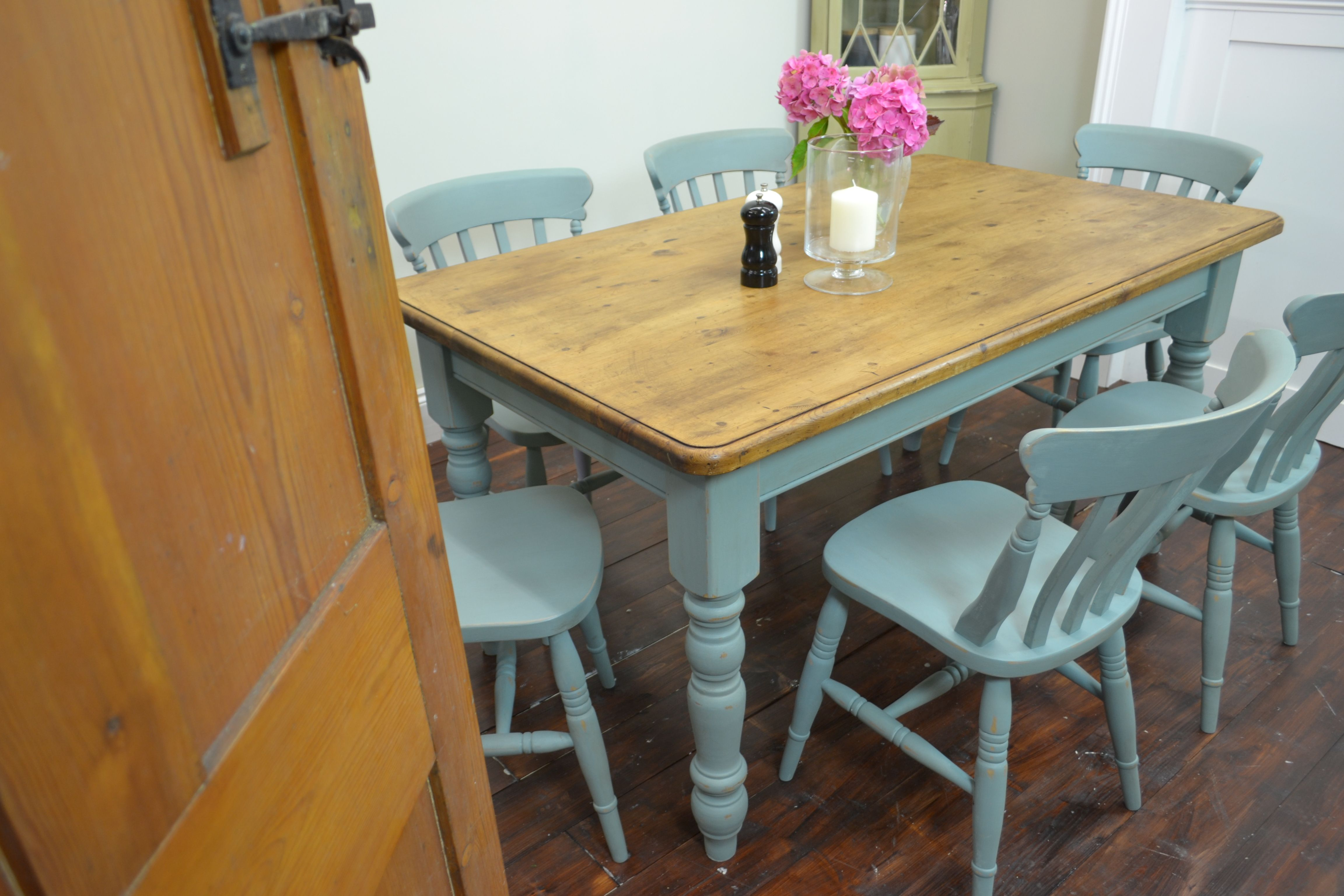 Country Dining Table with 6 Chairs Painted in Duck Egg ...