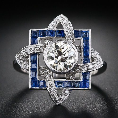 Art Deco 1.00 ct  Diamond Solitaire & Sapphire  Ring