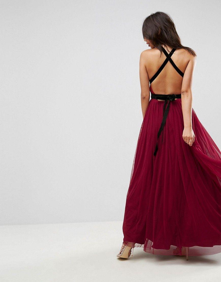 ASOS PREMIUM Tulle Maxi Prom Dress With Velvet Ties - Red | Maxi ...