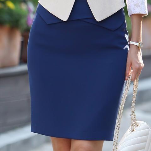 Professional Business Suit Pencil Skirt Elegant OL Skirts Blue