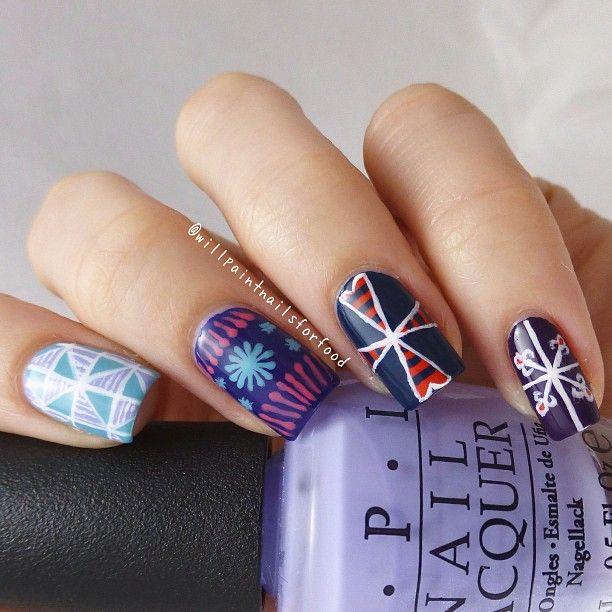 Easter nails, based on designs for Ukrainian Easter eggs ...