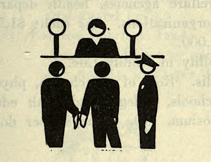 Legal procedure.Journal of social hygiene. January 1952. Internet Archive - #1950s #1952 #accused #court #handcuffed #judge #law #nemfrog #pictogram #police #the