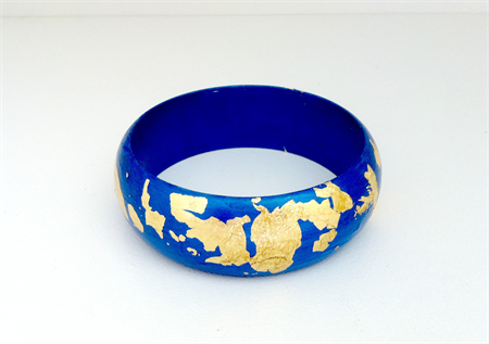Metallic Blue & Gold Leaf Wooden Bangle | Belle Bangles | madeit.com.au
