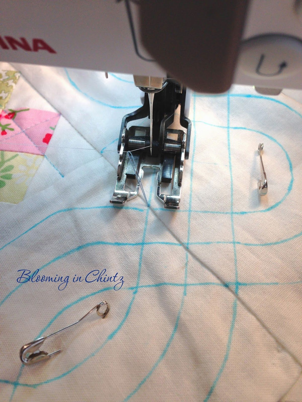 """bloominginchintz.blogspot.com  How to quilt cables by """"walking foot"""".  She also has some interesting thoughts and hints on washing the quilt prior to putting the binding on it.  Never thought of that before!"""