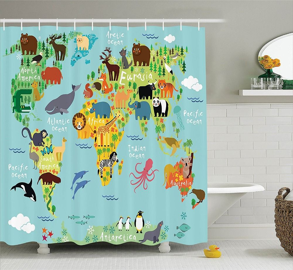 Animal map of the world for children and kids cartoon mountains animal map of the world for children and kids cartoon mountains forests image polyester fabric gumiabroncs Choice Image