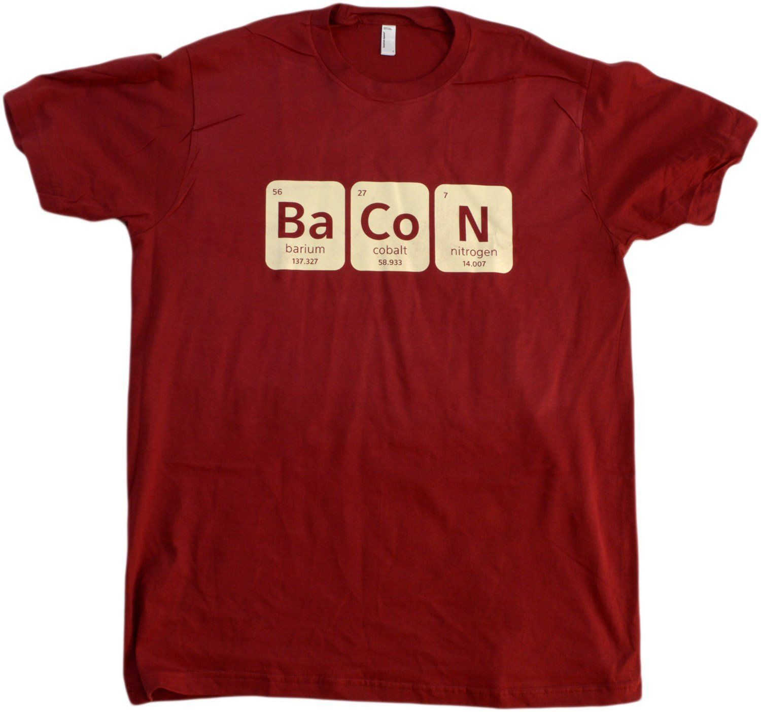 Bacon periodic table adult unisex t shirt funny nerd for Custom periodic table t shirts