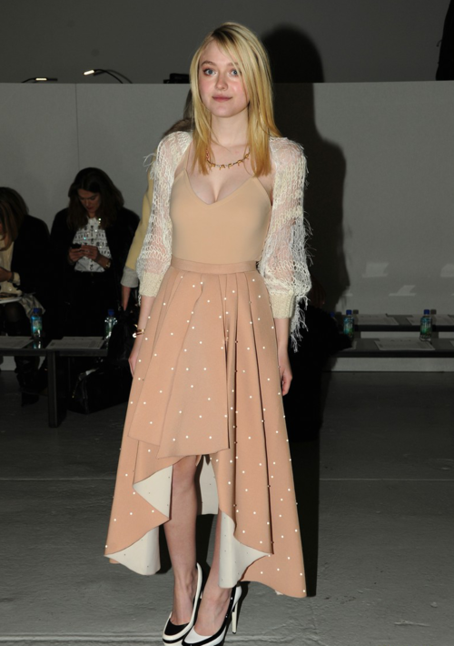 2/11/14 -Dakota Fanning at the Rodarte F/W 2014 Fashion Show in NYC.