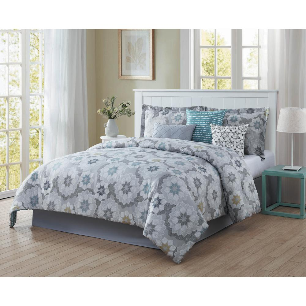 Splendid 7 Piece Blue Grey White Black Gold Queen Comforter Set