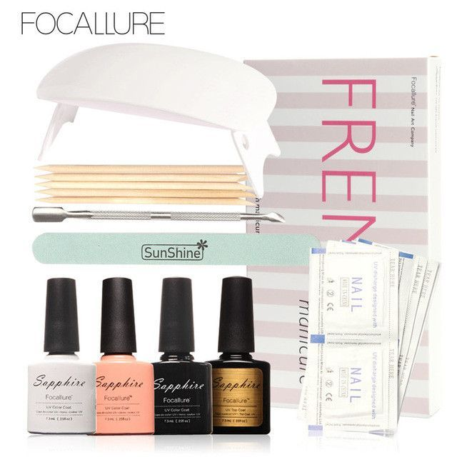 FOCALLURE LED Lamp French Manicure Kit 4 Colors Sapphire UV Gel Nail Art Tools Sets Kits