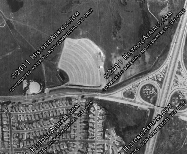 Historic Aerials view of original location of Hilltop Drive-In.