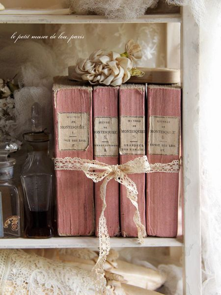 Vintage Shabby Pink books for display