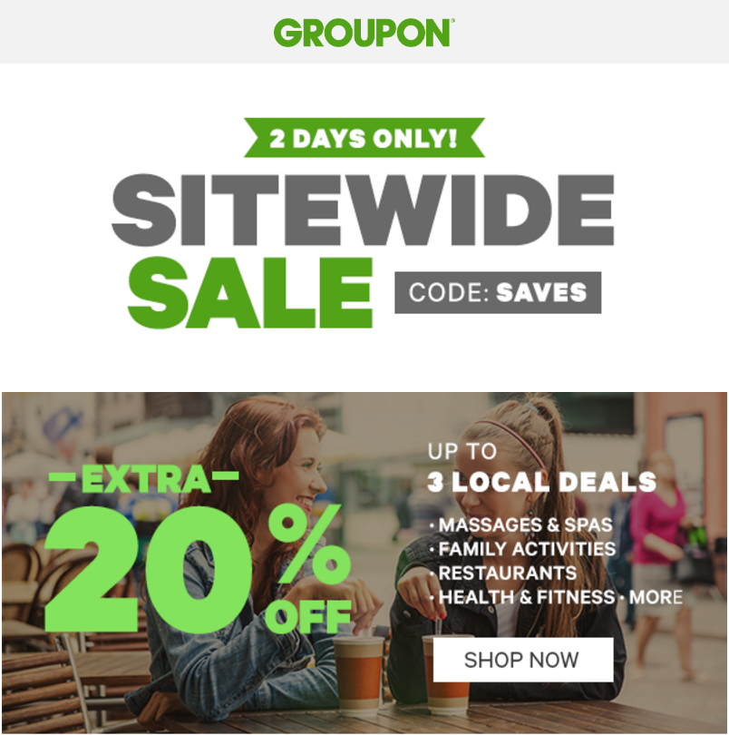 Groupon Canada Sitewide Sale: Save Up to an Extra 20% Off with Promo Code http://www.lavahotdeals.com/ca/cheap/groupon-canada-sitewide-sale-save-extra-20-promo/128362