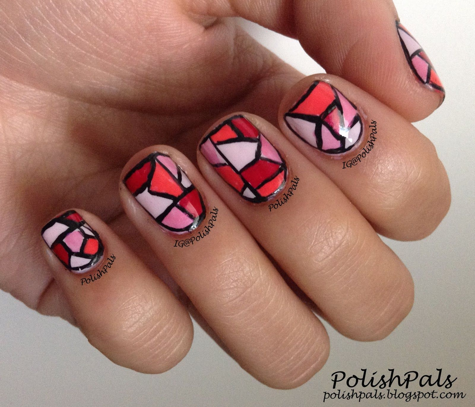 Stained Glass Nail Art: Polish Pals: Pink Stained Glass Nails (+ Tutorial)